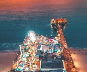 amusement park, beach, and lights image