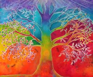 artist, rainbow, and trees image