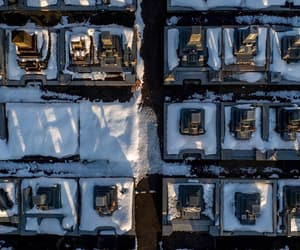 aerial photography, cityscape, and snow image