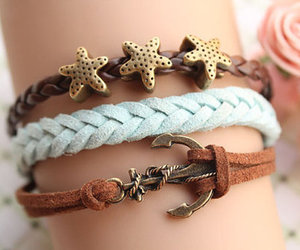 bracelet, stars, and anchor image