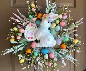burlap, etsy, and bunny wreath image