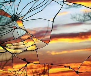 broken, broken glass, and clouds image