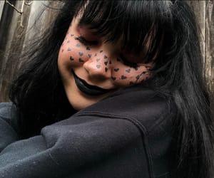 black hair, makeup, and cute image