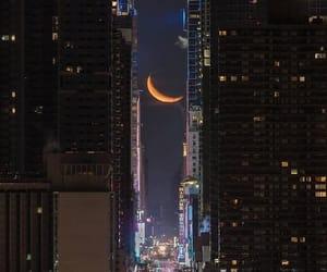 lights, moon, and night city image