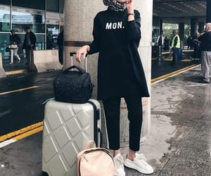 airport, fashion, and hijab image