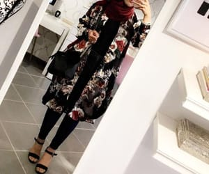 fashion, floral, and hijab image