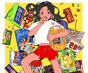 chips, food, and girl image