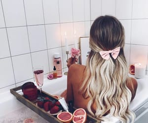 bath, hair, and pink image