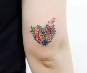 butterfly, flower, and flower tattoo image