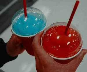 blue, milkshake, and red asthetic image