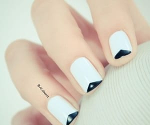 french tip nails and creative v-shaped image