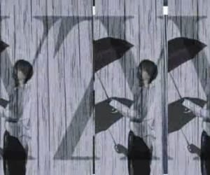 rain, 傘, and rainy image