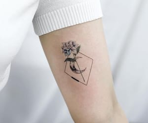 rose tattoo, tattoo, and moon tattoo image