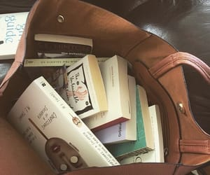book, bag, and reading image