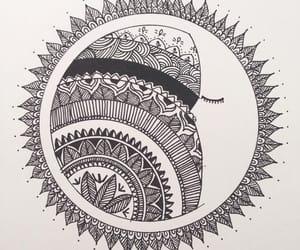 mandala, moon, and tattoo image