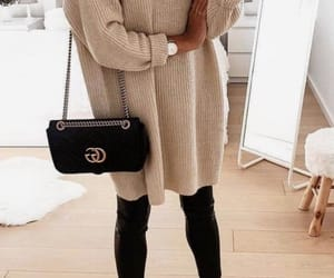 beige, purse, and black image