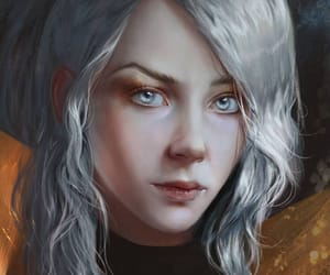 fantasy, grey hair, and illustration image