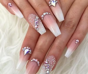 nails, white, and ombre image
