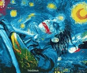 art, starry night, and batman image