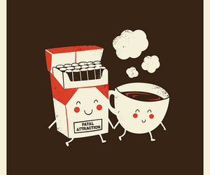 cigarette, cute, and coffee image