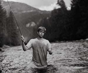 boy, water, and fishing image