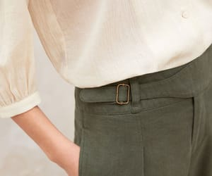 crinkled blouse and linen trousers image