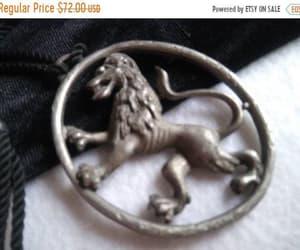 etsy, shield lion necklace, and lion crown pendant image