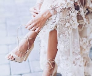 wedding dress, heels, and lace image