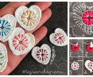 button, crochet, and heart image