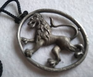etsy, shield lion necklace, and lion crown pendant image