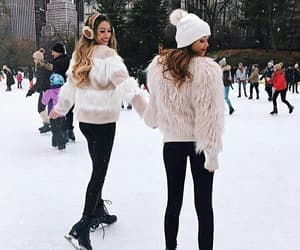 winter, friends, and snow image