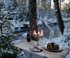 cold outside, outside dessert, and candlelight in the cold image