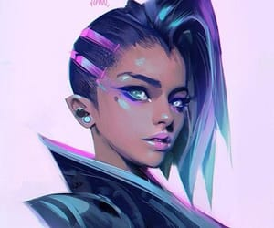 blue, pink, and video game image