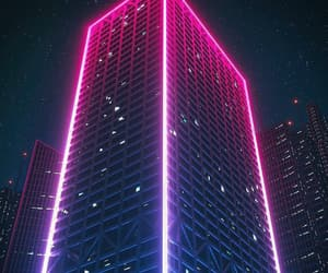 city, pink, and neon image