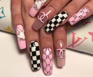 nails, acrylics, and pink image