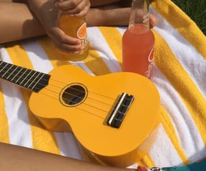 yellow, aesthetic, and guitar image