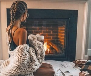braid, cozy, and fire place image