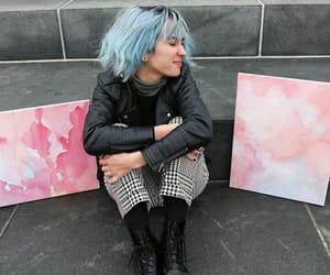 art, art girl, and blue hair image
