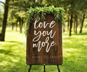 wooden sign, wedding date sign, and modern wedding sign image