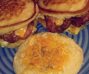 bacon, cheese, and pancakes image