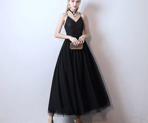 girl, black prom dress, and prom dress image