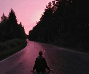 pink, sunset, and grunge image