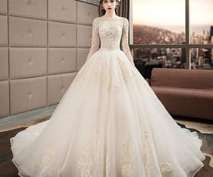 bridal, lace, and tulle wedding gown image