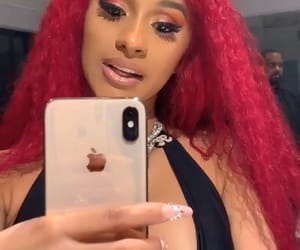 hair, red, and cardi b image