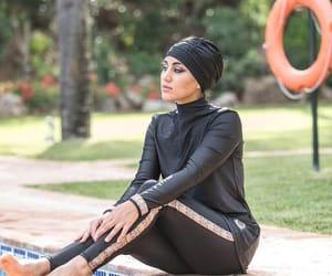 black, hijab, and swimsuit image