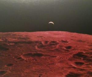 moon, red, and space image