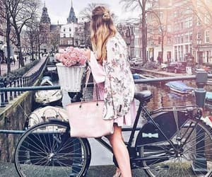 flowers, bicycle, and outfit image