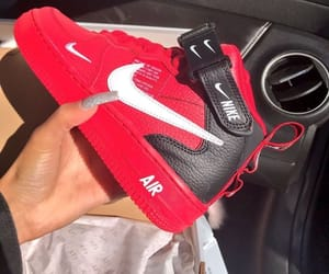 black, nike, and red image