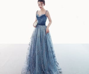 glitter, ocean blue dress, and prom dresses 2019 image