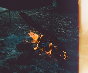 camping, flames, and coal image